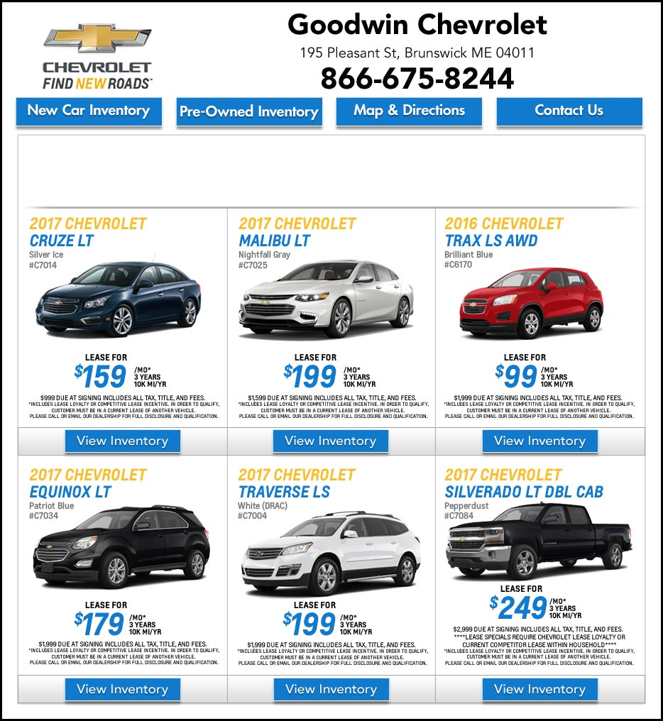 Lease Specials Near Me >> Goodwin Chevrolet Brunswick New Chevy Deals In Maine